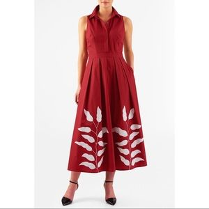 EShakti Leaf Applique poplin maxi shirtdress